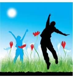 people on nature grass spring vector image