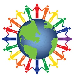 Community of people joined around the globe vector image vector image