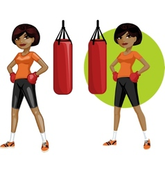 Cute young African American woman boxer vector image vector image