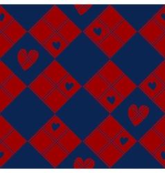 Diamond Chessboard Red Navy Blue Heart Valentine vector image