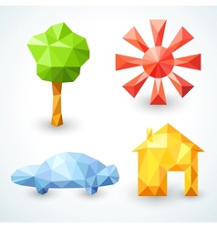 House car tree and sun icons set vector image