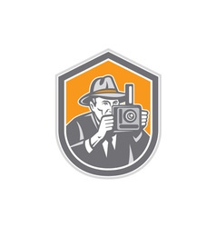Photographer Vintage Camera Shield Retro vector image vector image
