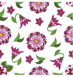 seamless pattern with spring flowers cover vector image vector image
