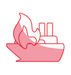 silhouette emergency ship burnt and danger vector image vector image