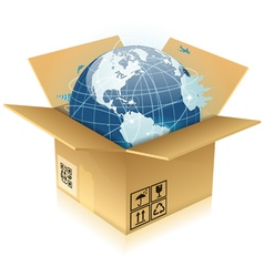 Cardboard Box with Earth vector image vector image
