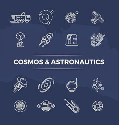 cosmos and astronautics line icons - planets vector image