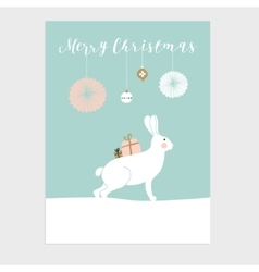 Cute Christmas greeting card invitation with vector image vector image