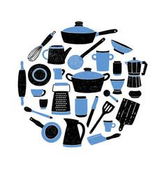 kitchenware set on white background round vector image