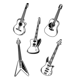 music acoustic and electrical guitars vector image vector image