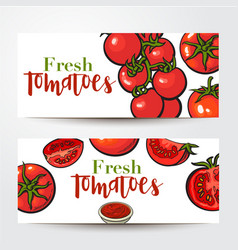 banners with ripe red tomatoes salsa bowl place vector image vector image