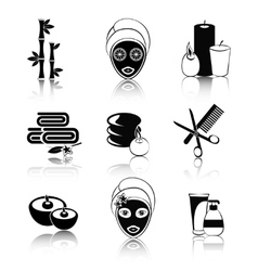 Black and white spa icons set vector image vector image