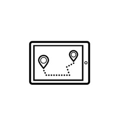 icon navigation on the map the shortest path for vector image