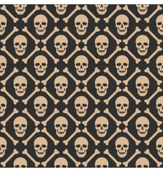 Skull seamless dark pattern vector image