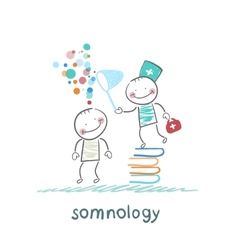 somnology standing on a pile of books and dreams vector image