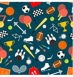 sporting equipment and item seamless pattern vector image vector image