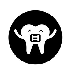 tooth with orthodontic bracket character icon vector image vector image