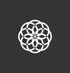 White floral logo template abstract black vector image vector image