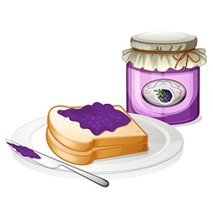 A slice bread and a bottle of grape jam vector image