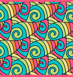 Abstract doodle pattern colorful wavy background vector