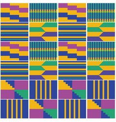 African geometric kente cloth pattern vector