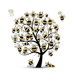 Art tree with family bees sketch for your design vector