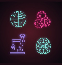 artificial intelligence neon light icons set vector image