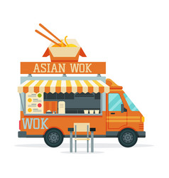 Asian food truck street meal vehicle fast food vector