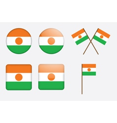 Badges with flag of Niger vector