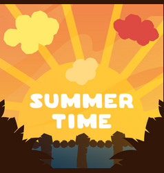 beautiful orange sunset summer time vector image