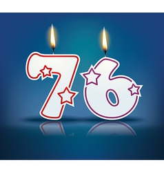 Birthday candle number 76 vector image