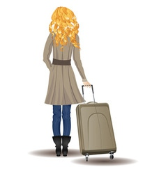 Blonde Woman with Suitcase2 vector