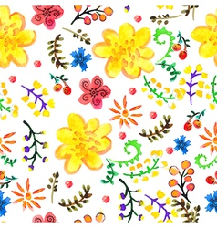 Bright Seamless watercolor color floral background vector image