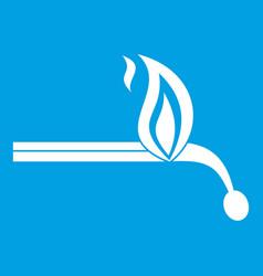 burning match icon white vector image