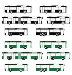 Bus set in the black and green color vector