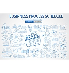Business Process Schedule with Doodle design style vector