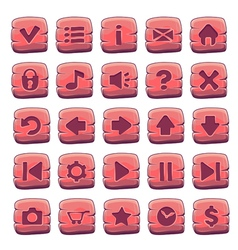 Buttons square red vector