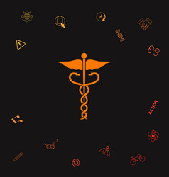 caduceus medical symbol icon graphic elements for vector image