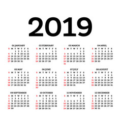 calendar 2019 isolated on white background week vector image