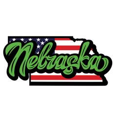 calligraphic lettering nebraska on background vector image