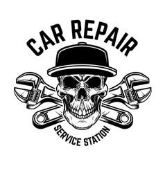 car repair service station emblem template vector image