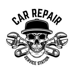 car repair service station emblem template with vector image