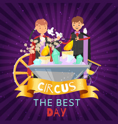 children juggle with doves and crystals on circus vector image