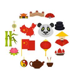 china travel symbols icons set in flat style vector image