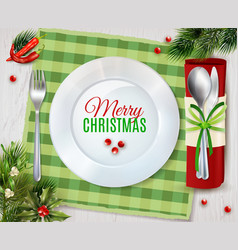 christmas dinner cutlery realistic composition vector image