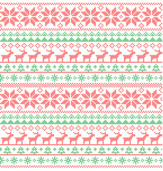 christmas seamless pattern nordic style knitted vector image