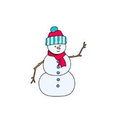 Christmas White Snowman Isolated on White vector image