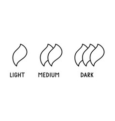 Coffee roasting levels light medium dark text vector