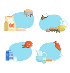 cooking ingridients or groceries stickers vector image