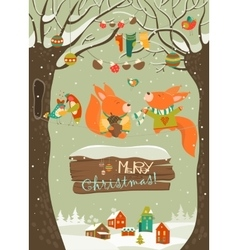 Cute squirrels celebrating Christmas vector image