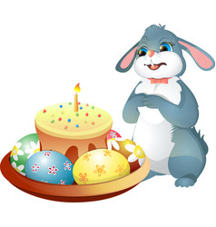 Easter bunny and easter cake with candle vector